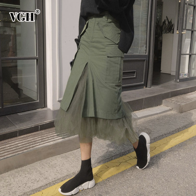 VGH Womens Skirt Tulle Patchwork Autumn Split High Waist Packet Hip Skirt Female Long Casual Clothing Fashion