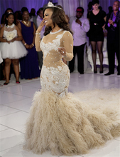 Vestido De Noiva Scoop Beaded Crystal See Through Three Quater Sleeve Champagne Mermaid Wedding Dresses Robe De Mariage Sirene