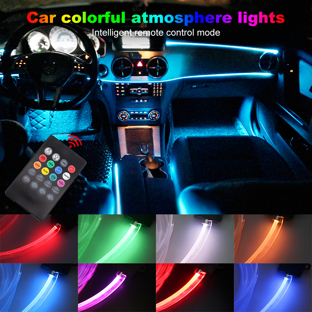 цена на Atmosphere Lamp 8 colors DIY Decorative Car Remote Control Neon Strip for Interior Dashboard Console Door Car Styling 4 meters