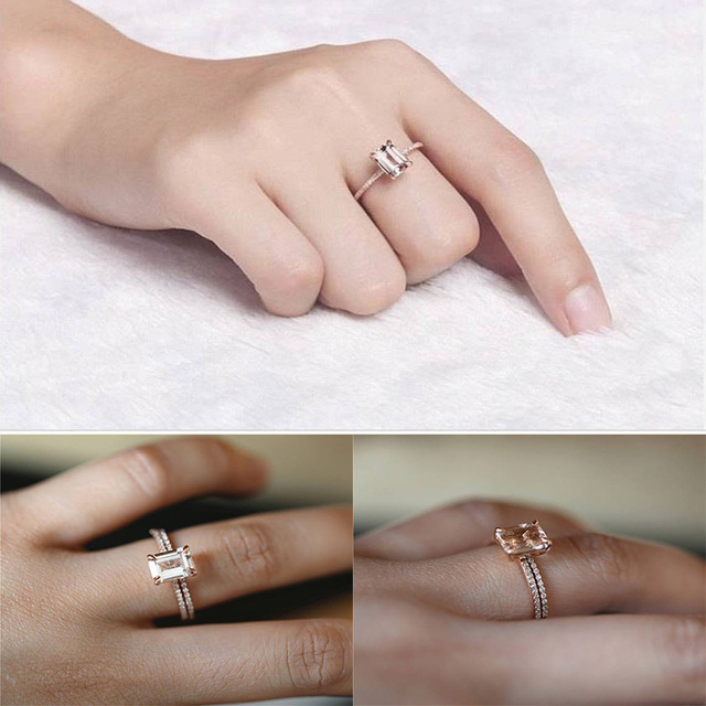 2Pcs Ring/Set White Crystal Zircon Ring 5