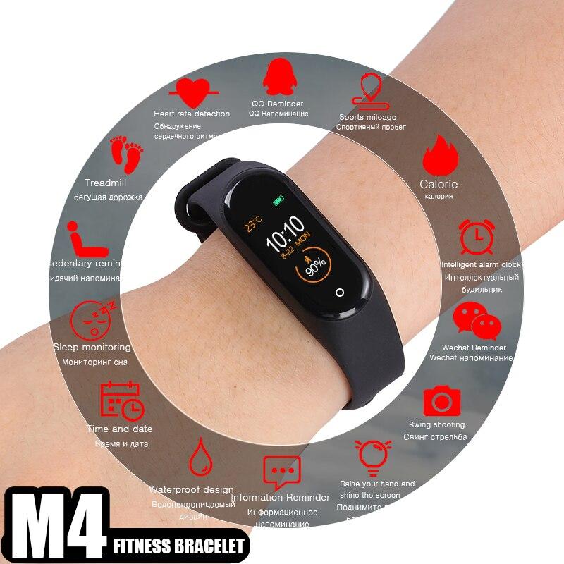 eeaf5b2d0cb4 M4 pulsera inteligente banda Fitness podómetro rastreador Frecuencia  Cardíaca mensajes de presión ...