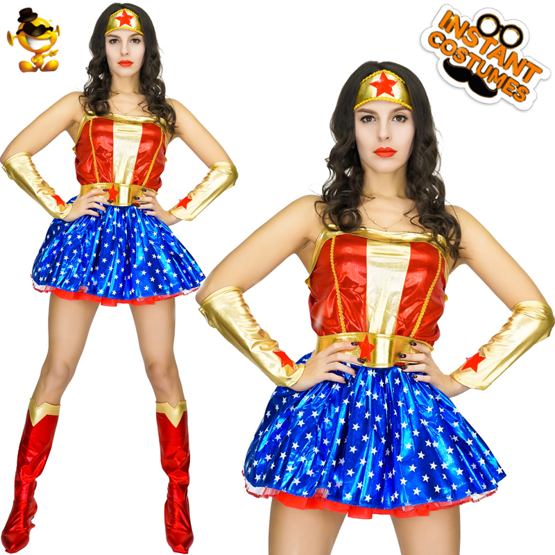 Carnival Halloween Theme.Dsplay Cosplay Adult Wonder Woman Costume Halloween Theme Party Original New Design Dress Carnival New Gorgeous Fighter Outfits