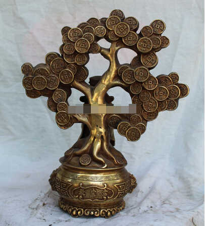 "SCY B0601 331 12 ""Ditandai Cina Bronze Wealth YuanBao Mammon Uang Pohon Naga Singa Serikat patung"