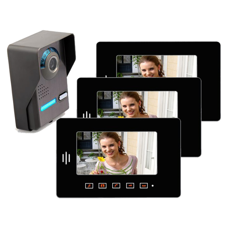 Yobang безопасности 7 квартира Видеодомофоны Дверные звонки Системы ИК Камера touch ключ для 3 семей