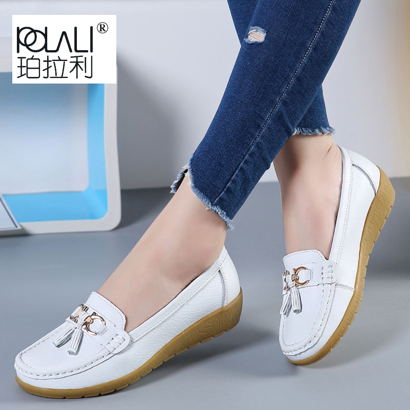 POLALI 2019 Summer Genuine Leather Women Casual Shoes Fashion Breathable Slip-on Peas Massage Flat Shoes Shoes Women's Shoes