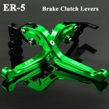 CNC Aluminum Motorbike Levers Motorcycle Brake Clutch Foldable Extendable Adjustable For Kawasaki ER-5 ER 5 ER5 2004 2005