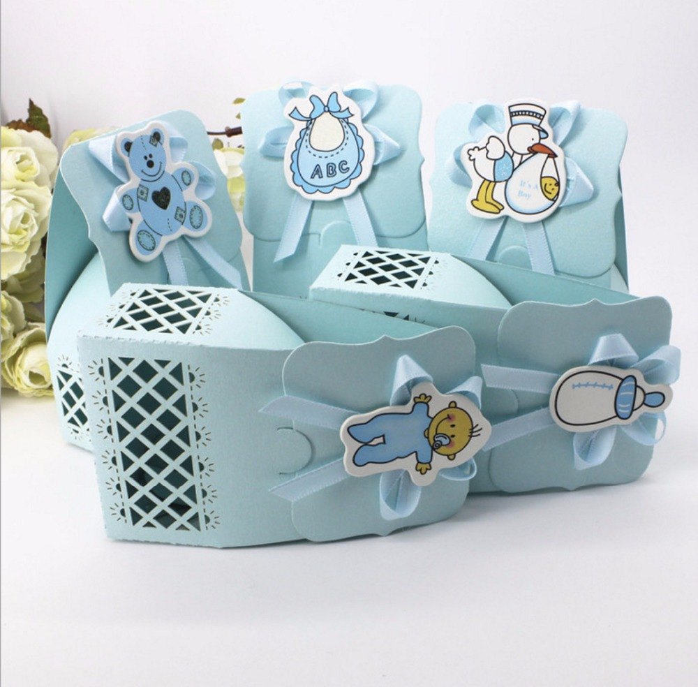 Diy baby shower favor boxes - 12pcs Laser Cut Bib Milk Bottle Bear Diy Christening Baby Shower Party Favor Boxes Paper Gift