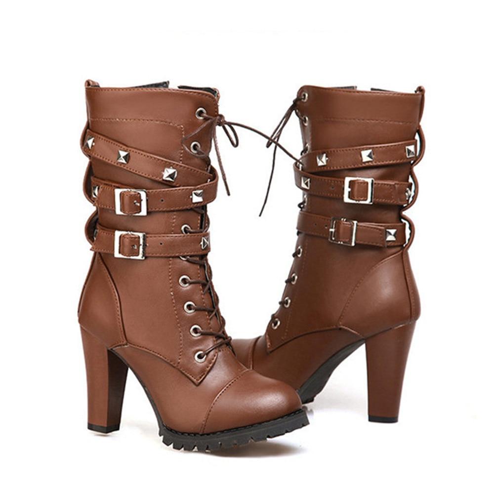 shoes Boots Women Ladies Classics Rivet Belt High Heels Mid-Calf Boots Shoes Martin Motorcycle Zip boots women 2018Oct31 36