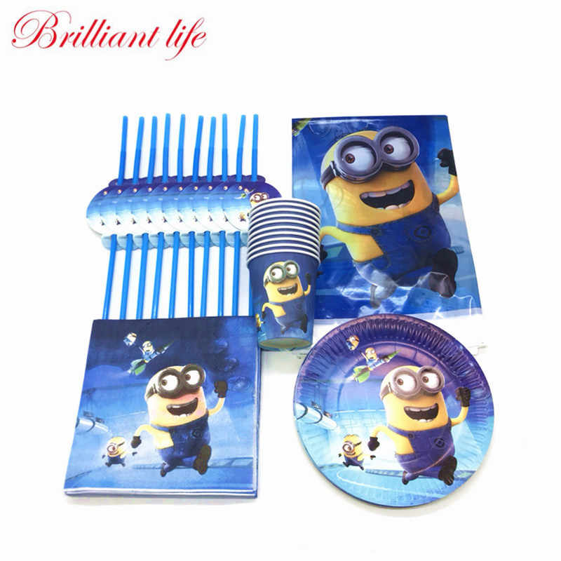 New 81pcs/lot Minions Theme Happy Birthday Paper Cup Plate Napkin Straw Child Birthday Party Decorations Tablecloth Supplies Set