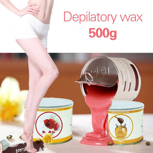 500g cera depilatoria conservas climatizada axila del brazo del muslo bikini depilación rápida segura 10 tipos de sabor C004