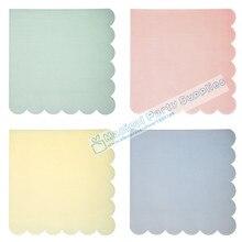 40pcs Scallop Paper Napkins for Event & Party Decoration Pastel Pink Mint Blue Ivory  Tissue Decoupage Servilleta 33cm*33cm