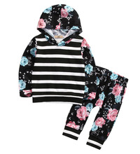 0-5Y Baby Girls clothes 2017 new arrival Spring Autumn Children clothing sets long sleeve Floral Tops Hooded Sweatshirt + Pants