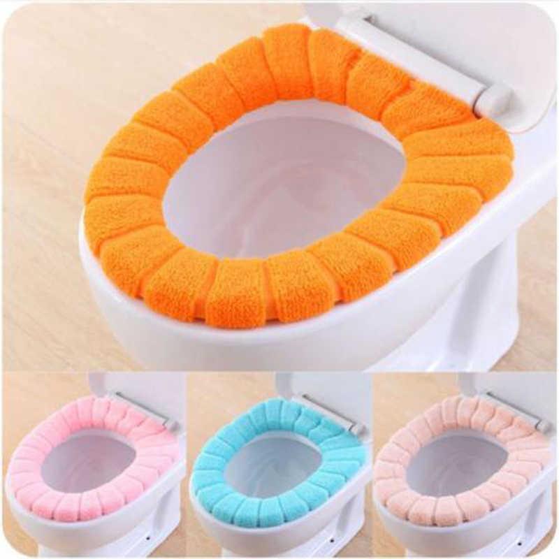 Wygodne aksamitne koralowe sedes do łazienki pokrywa zmywalna Closestool standardowa łazienka cieplej pokrywa górna pokrywa poduszka Pad