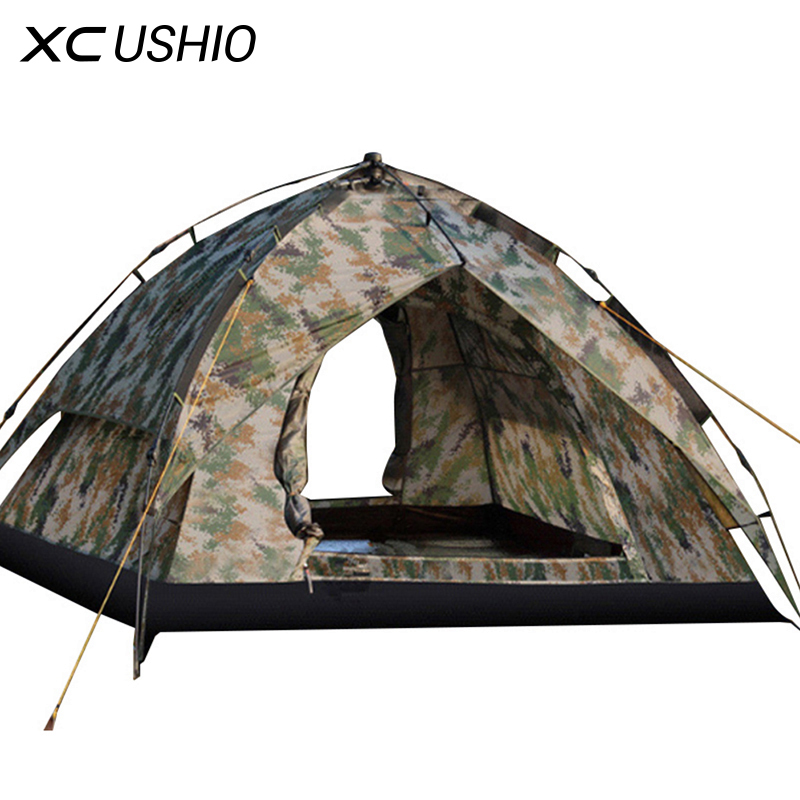 3-4 person Quick Open Automatic Tent Double Layer Rainproof Camouflage Military Tent for Outdoor Camping Fishing Hunting 3 4 person outdoor camping tent double layer quick open install tent waterproof 230x210x140cm