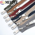 1pcs MEETEE No 5 Double end Copper Silver Teeth Metal Zipper for Sewing zip Garment Accessories Jeans Zippers A3-8