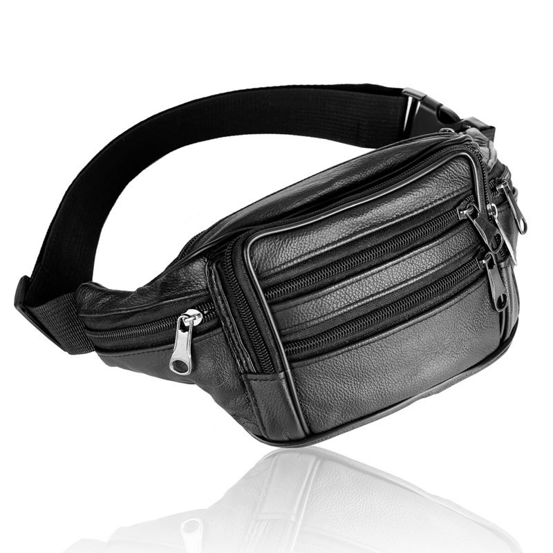 Men's Waist Packs Male Genuine Leather Fanny Pack Belt Bag Phone Pouch Bags Solid Casual Travel Waist Pack Men Small Waist Bag