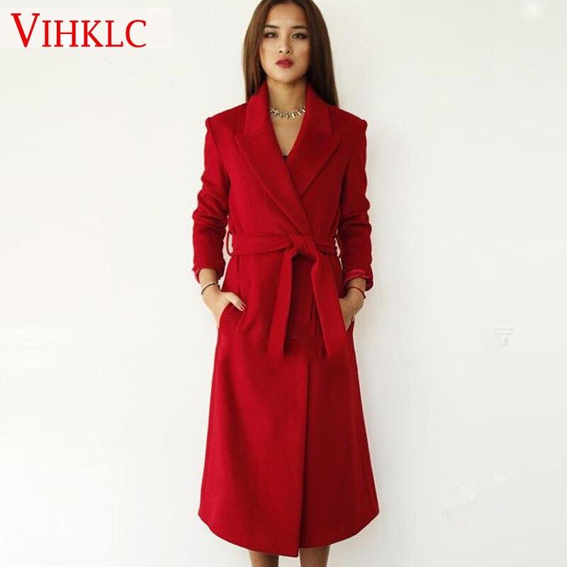 Women Wool Coat 2017 Winter Coat Women Red/Black Trench Coat Oversize Warm Women's Coat European Fashion Women's Clothing L871