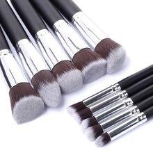 Conjunto de pincéis kabuki 10 peças, pincéis pretos de maquiagem com cerdas sintéticas