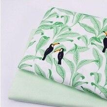 50x40CM Cotton Twill Manual Sewing Quilting Fabric DIY Handmade Patchwork Green Leaf Printed Width 160cm