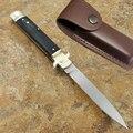 AKC 9 pulgadas cuchillo clásico buey cuerno Hilt leverletto modelo más el padrino Stiletto D2 hoja de acero de supervivencia al aire libre herramienta de camping