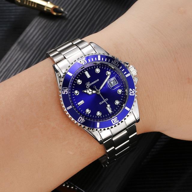 Reloj de pulsera de cuarzo analógico de acero inoxidable para deporte militar con fecha de lujo para hombres a prueba de agua