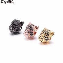Pipitree 3 шт. черный CZ Циркон Бусины в форме головы леопарда для мужчин браслет кулон DIY бусины Подвески для изготовления украшений латунные прокладки