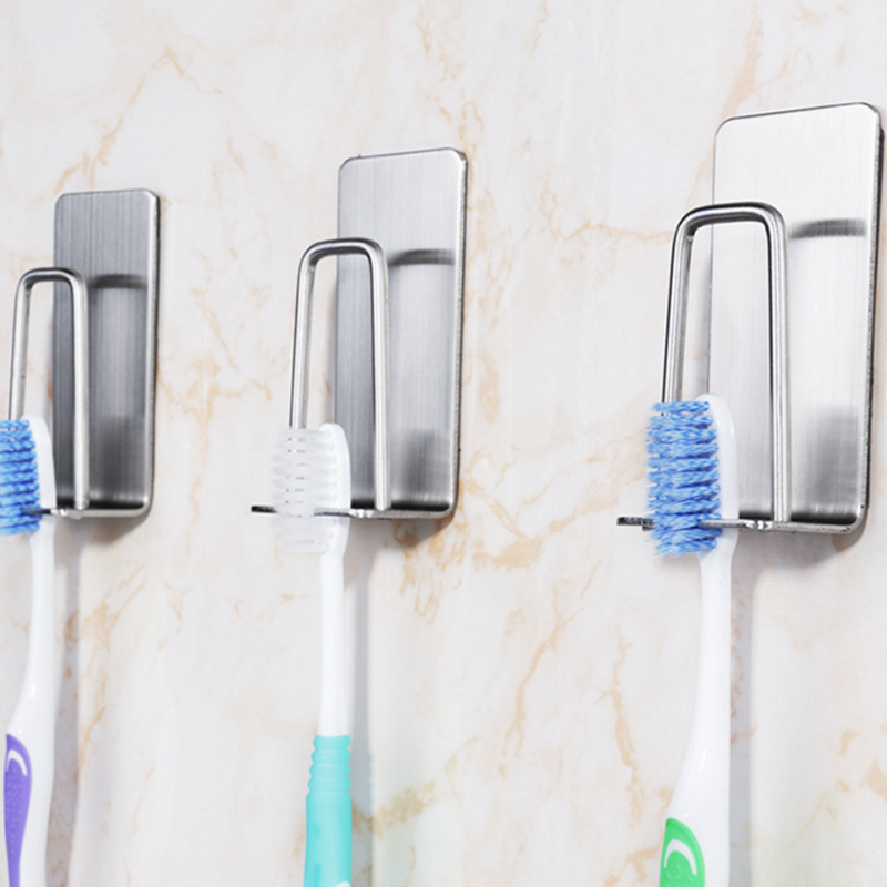 3pcs Wall Mount Stainless steel 304 Toothbrush Holder Self-adhesive Tooth Brush Organizer Box Bathroom Accessories image