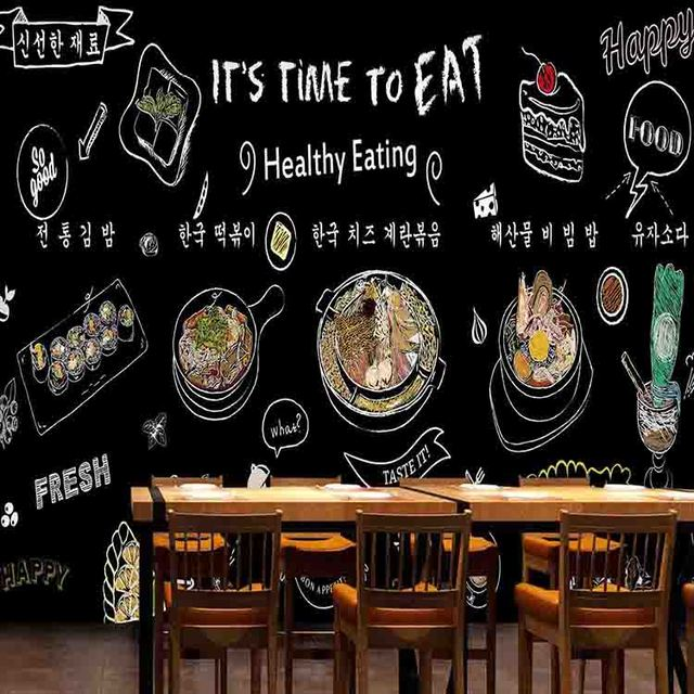3D Photo Wallpaper Hand Painted Mural Hot Pot Sushi Cake Beverage Graffiti Blackboard