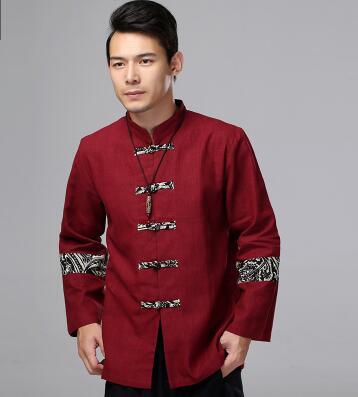 Chinois traditionnel oriental vêtements veste automne haut manches longues kungfu haut avec bouton tangzhuang chemise en lin - 5