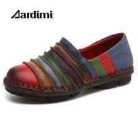 Handmade 100 Genuine Leather Women Flats Shoes Fashion Patchwork Loafers Oxfords Shoes For Women Vintage Casual