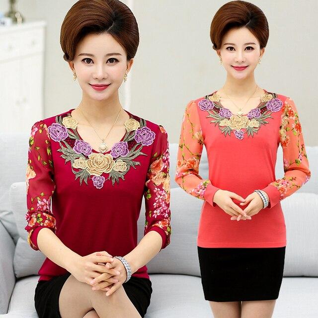 Promotie Nieuwe Middelbare Leeftijd Vrouwen Chiffon Blouse Overhemd Borduren Afdrukken Mode Top W56