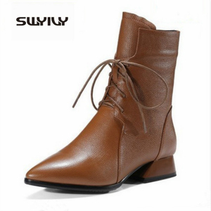 Image 4 - SWYIVY Woman Boot 2019 New Autumn Mid Calf Boots Women Pointed Toe Shoe Martin Boots Block Heel Shoes Women Black/brown Booties