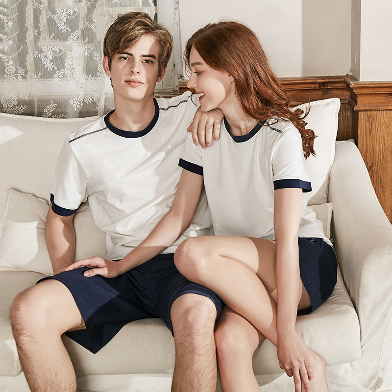 Men Cotton Pyjamas Sets T-shirt & Shorts Male Simple Pijama Sleepwear Casual Round Collar Couple Nighties Summer Homewear