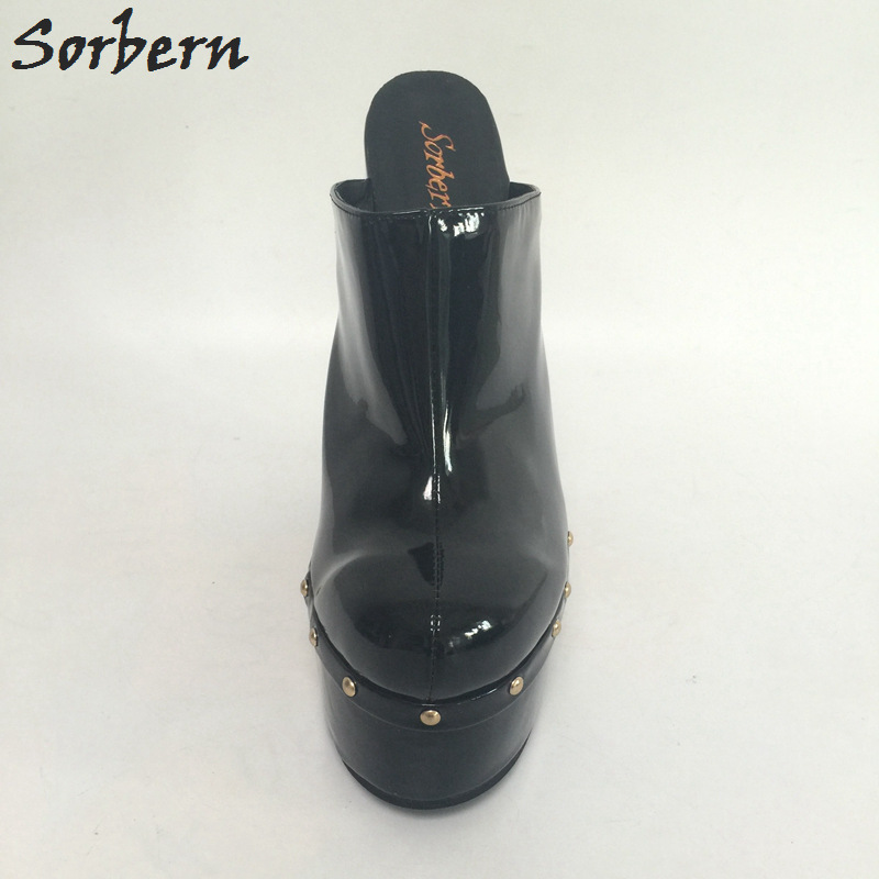 Keil Für Schwarz Sorbern Größe Warme Schuhe Color on Maultiere Slip Color Heels 42 Shiny Pu Spitz Patent custom Faux custom Frauen 20 Cm High Pumps Benutzerdefinierte Keile custom Schwarzes Suede dt6w86qr