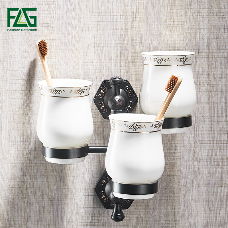 FLG Cup & Tumbler Holders Brass Ceramic Cup Bathroom Accessories Gold Three Tumbler Holders Toothbrush Cup Holders frap bathroom accessories wall mounted silver single cup tumbler holder toothbrush toothpaste glass cup holders f3706