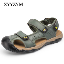 ZYYZYM Men Sandals Summer Shoes High-quality Genuine Leather Comfortable Man Soft Wading Sandals Roman Men beach Sandals krusdan 2017 high quality summer style man casual flat heel shoes genuine leather beach slipper fashion men s roman sandals
