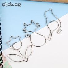 5PCS/set Paper Clips Metal Modelling Cat Bird Flower Cute and Kawaii Bookmark Office Binding Stationary Clip