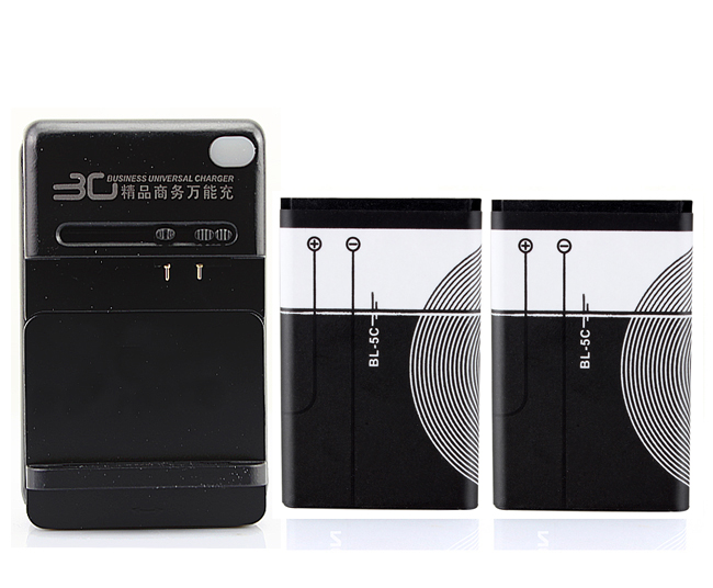 2x1020 mah Substituição Celular Bateria + Carregador USB Para Nokia BL-5C 1112 1208 1600 1100 1101 n70 n71 n72 n91 e60 BL5C BL-5C