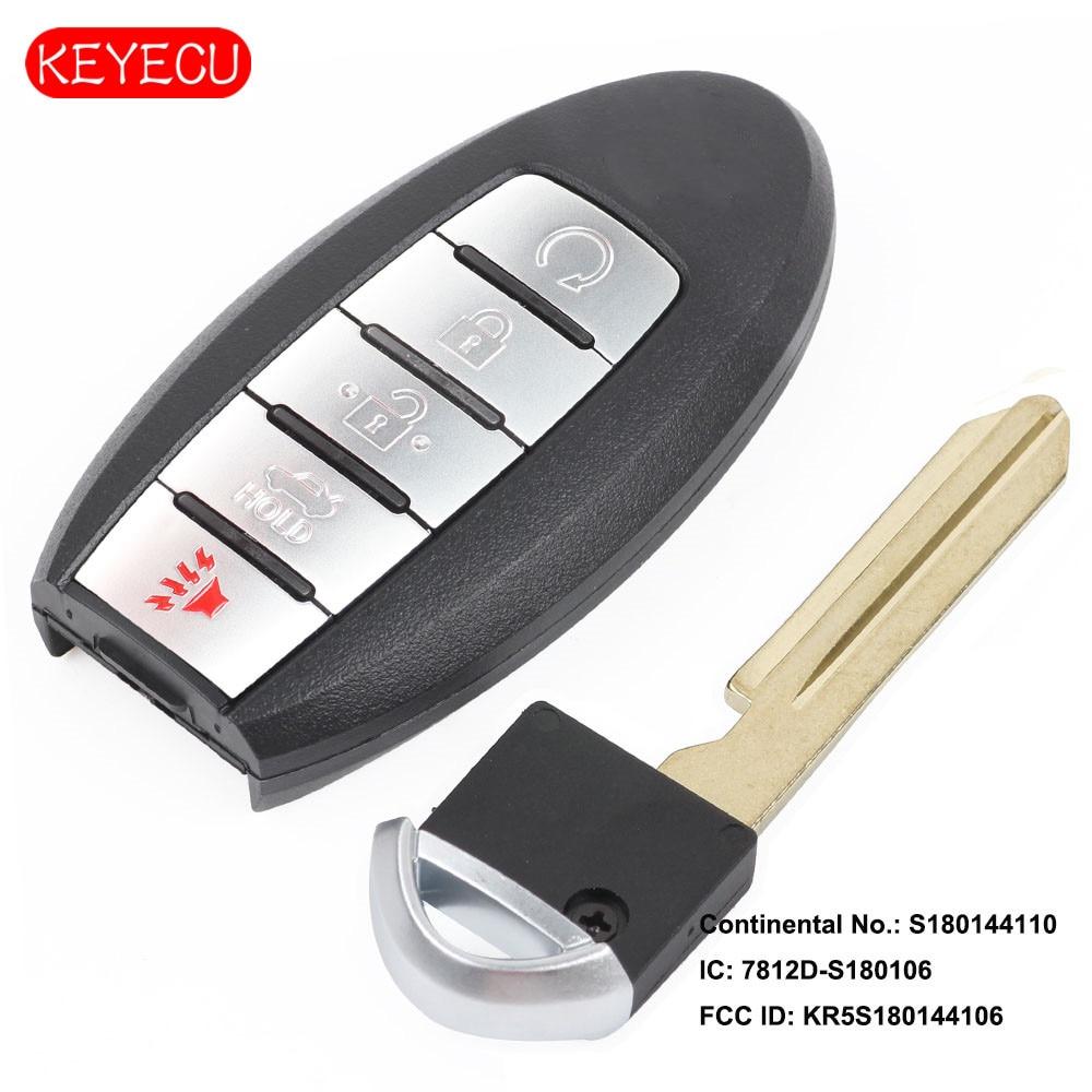 Keyecu télécommande voiture clé Fob 5 bouton 433.92 MHz pour Nissan Rogue 2017 2018 FCC ID: KR5S180144106 Cont # S180144110