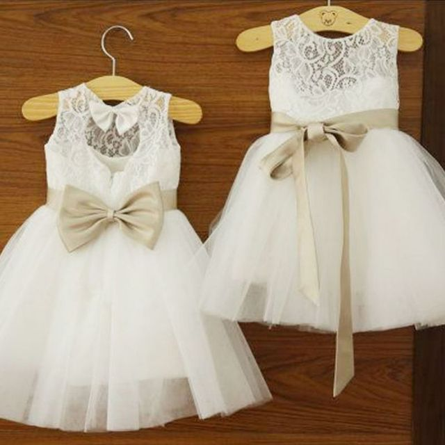 Precioso 2 7 años Niñas niños boda Vestido largo Tutu tulle princesa ...