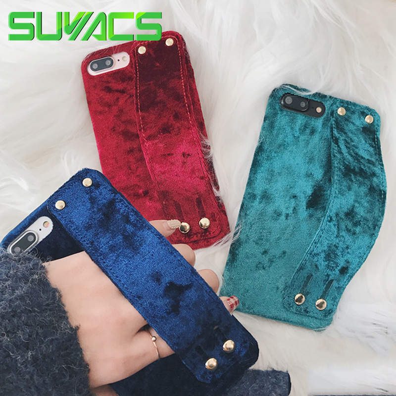 SUYACS Luxury Solid Color Velvet Cloth Wrist Strap Soft Phone Back Cover Cases For iPhone 6 6S 7 8 Plus X
