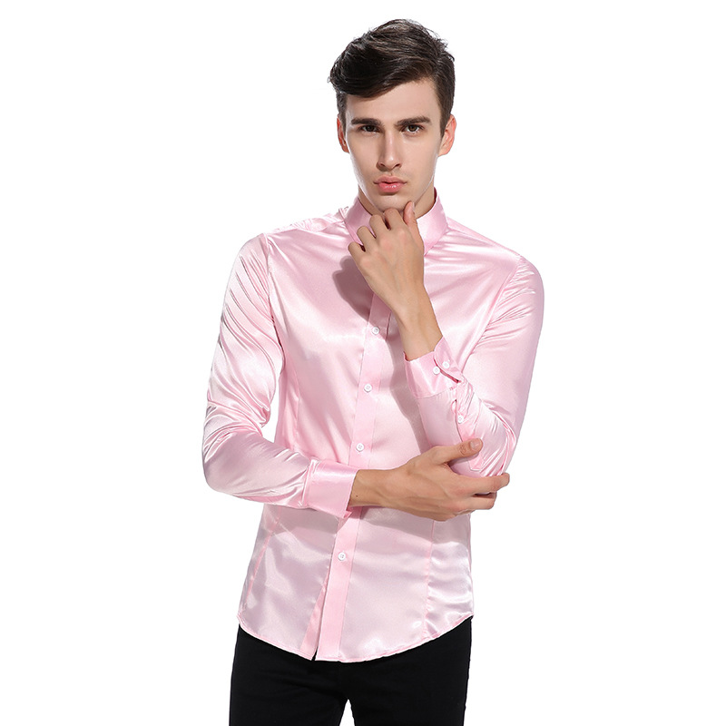 Silk Satin Shirt Men Chemise Homme 2017 Fashion Mens Slim Fit Tuxedo Shirts Casual Shiny Emulation Silk Button Down Dress Shirt