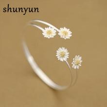 Shunyun Moda Pure 925 Sterling Silver Daisy Flor Abertura Cuff Pulseiras & Pulseiras Acessórios Femininos Srebrna bransoletka