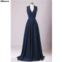 V Neck Sexy Beach Evening Dress Navy Blue Mother Of The Bride Dresses Lace Blackless Elegant