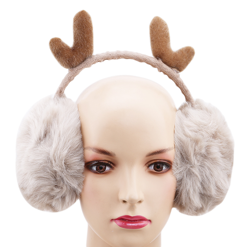 Bigsweety Women Warm Earmuffs New Fur Winter Earmuffs Novelty Cute Antlers Ear Warmer Gifts Cover Ears Super Soft Plush Ear Muff