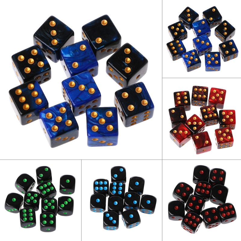 15mm Multicolor Acrylic Cube Dice Beads Six Sides Portable Table Games Toy 10Pcs