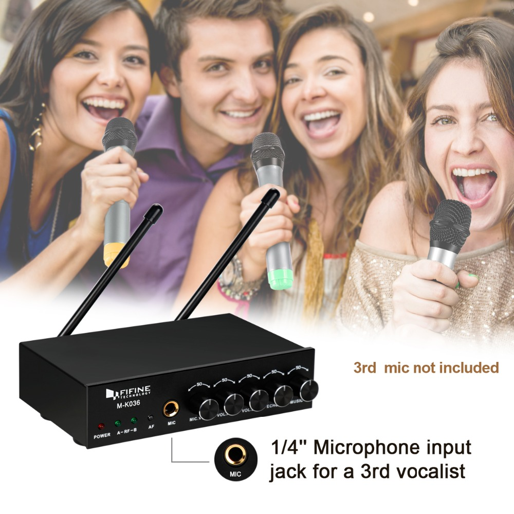 Image 4 - Fifine UHF Dual Channel Wireless Handheld Microphone, Easy to use Karaoke Wireless Microphone System K036-in Microphones from Consumer Electronics