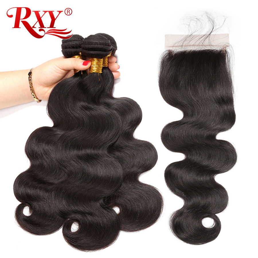RXY Remy Hair Peruvian Hair Bundles With Closure 3 Bundles Body Wave Human Hair Bundles With Closure Free/Middle/3 Part 4Pcs/Lot