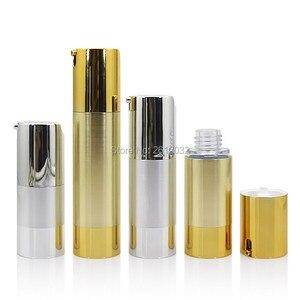 Image 5 - 500 pcs Luxo Ouro Prata Vazio Sem Ar garrafas de Bomba Mini Portátil Vacuum Tratamento Loção Cosmética garrafa Viagem F20171524