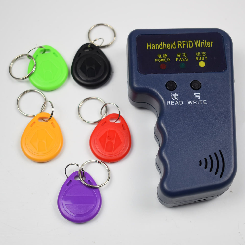 Handheld 125KHz RFID Duplicator Copier Writer Programmer Reader 5pcs EM4305 T5577 Rewritable ID Keyfobs Tags Card